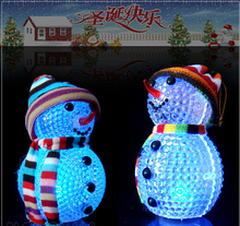 Colorful Flash Christmas Snowman Snowflake Santa Claus LED Night Lights with Hang Rope Gift Holiday Decorations 3pcs/lot(China (Mainland))