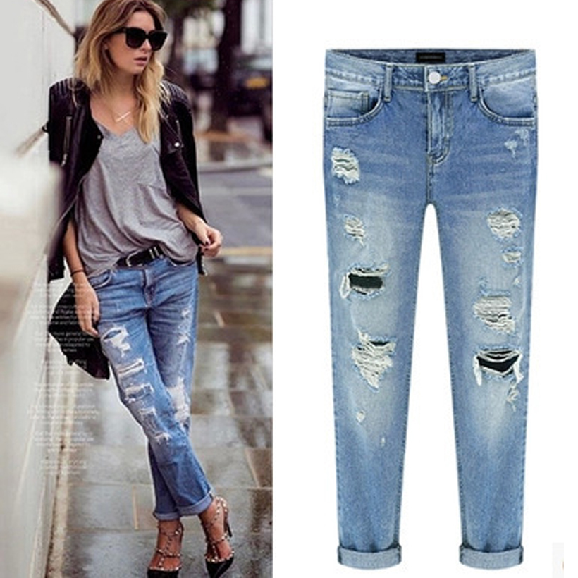 2015 newest women ripped jeans mid waist torn jeans hole knee skinny pencil pants slim. Black Bedroom Furniture Sets. Home Design Ideas