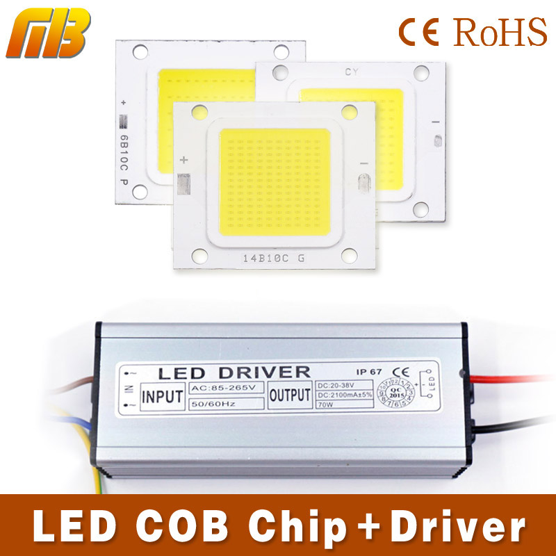 LED COB Chip Light 10W 20W 30W 50W 70W LED lamp / LED driver Transformer Voltage regula High Flux Suitable For Flood Light DIY(China (Mainland))