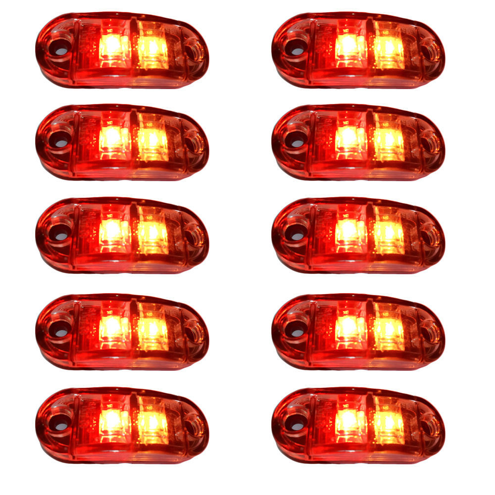 Free shipping 10PCS 12V 30V DC 2 LED CLEARANCE LIGHTS SIDE MARKER LED TRAILER TRUCK AMBER RED small lights Edge lights(China (Mainland))
