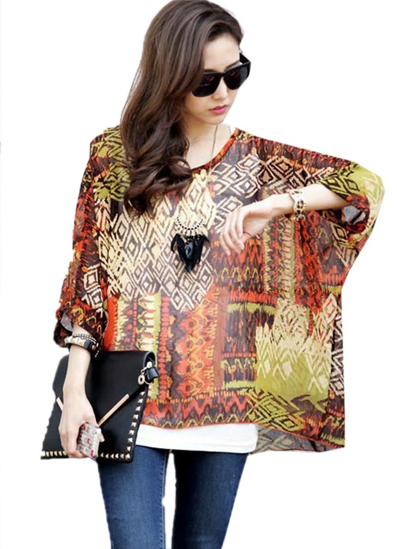 Hainan bohemian plus size chiffon shirt fashion printing for New shirt style for girl