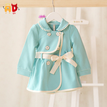 AD 4-24M Formal Baby Girls Jacket Blue Bow Beads Quality Winter Spring Baby Coat Warm Girls Trench Outwear Baby Clothing Clothes