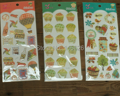 Crystal epoxy 3D stickers w/cake/balloon/tree design decorative label for cup/mobile phone 9.5x22cm 6sheets/lot(China (Mainland))