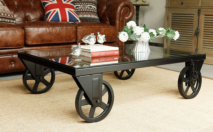 Vintage iron wheel coffee table coffee table coffee table in coffee tables from furniture on Antique wheels for coffee table