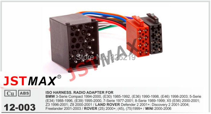 jstmax 12 003 iso radio adapter for bmw land rover rover mini wire wiring harness