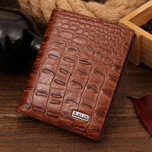 Luxurious Crocodile pattern men s PU leather wallets fashion Designers top grade male purse card holder