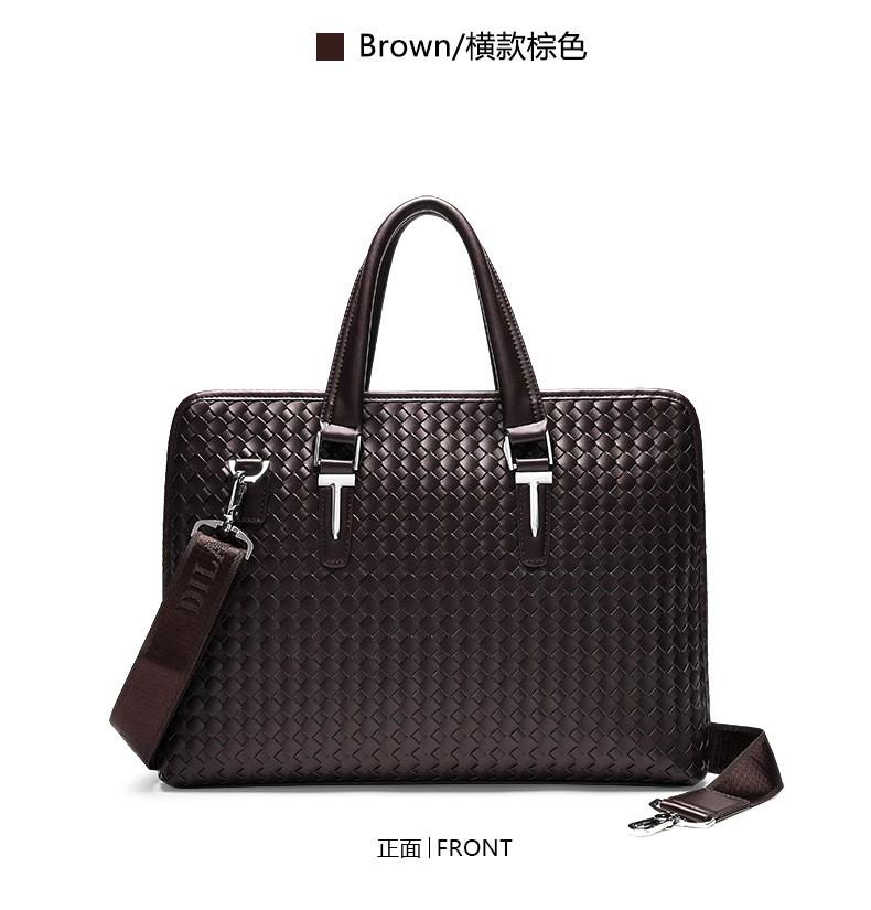 Men Business Synthetic Leather Weaving Briefcase Male Travel Messenger Shoulder Portfolio Laptop Bags Causal Lawer Handbag Bolsa (23)