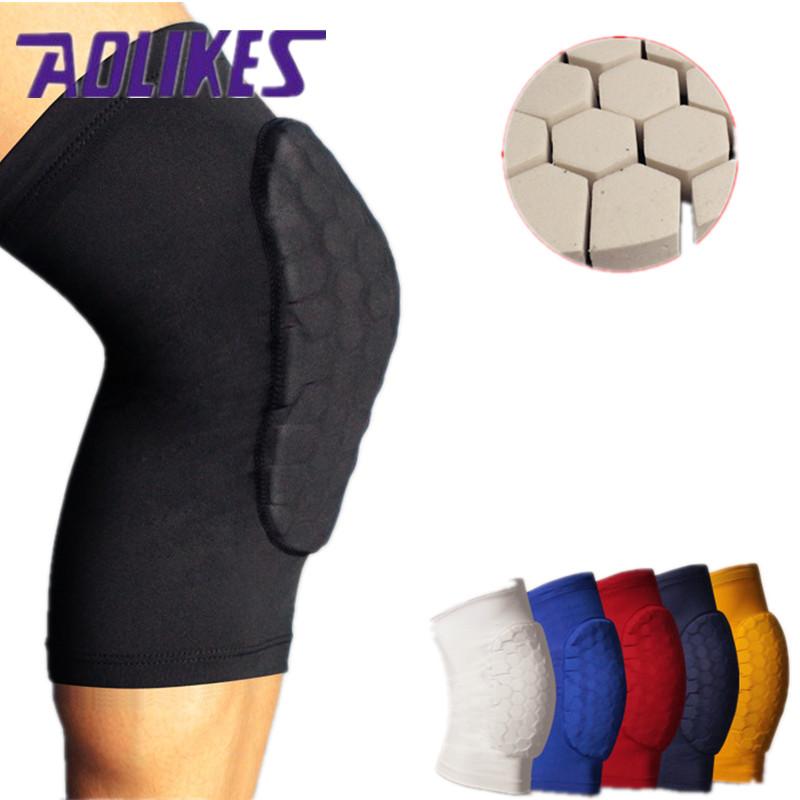 1PCS Honeycomb Basketball Knee Pads Leg Sleeves Cellular Football Volleyball Soccer Kneepad Calf Support Leg Warmer(China (Mainland))
