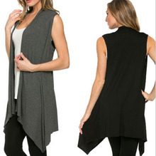 Autumn Women Long Cardigan Knitted Sleeveless Open Stitch O-neck Outwear Solid Color Loose Sweater Coats