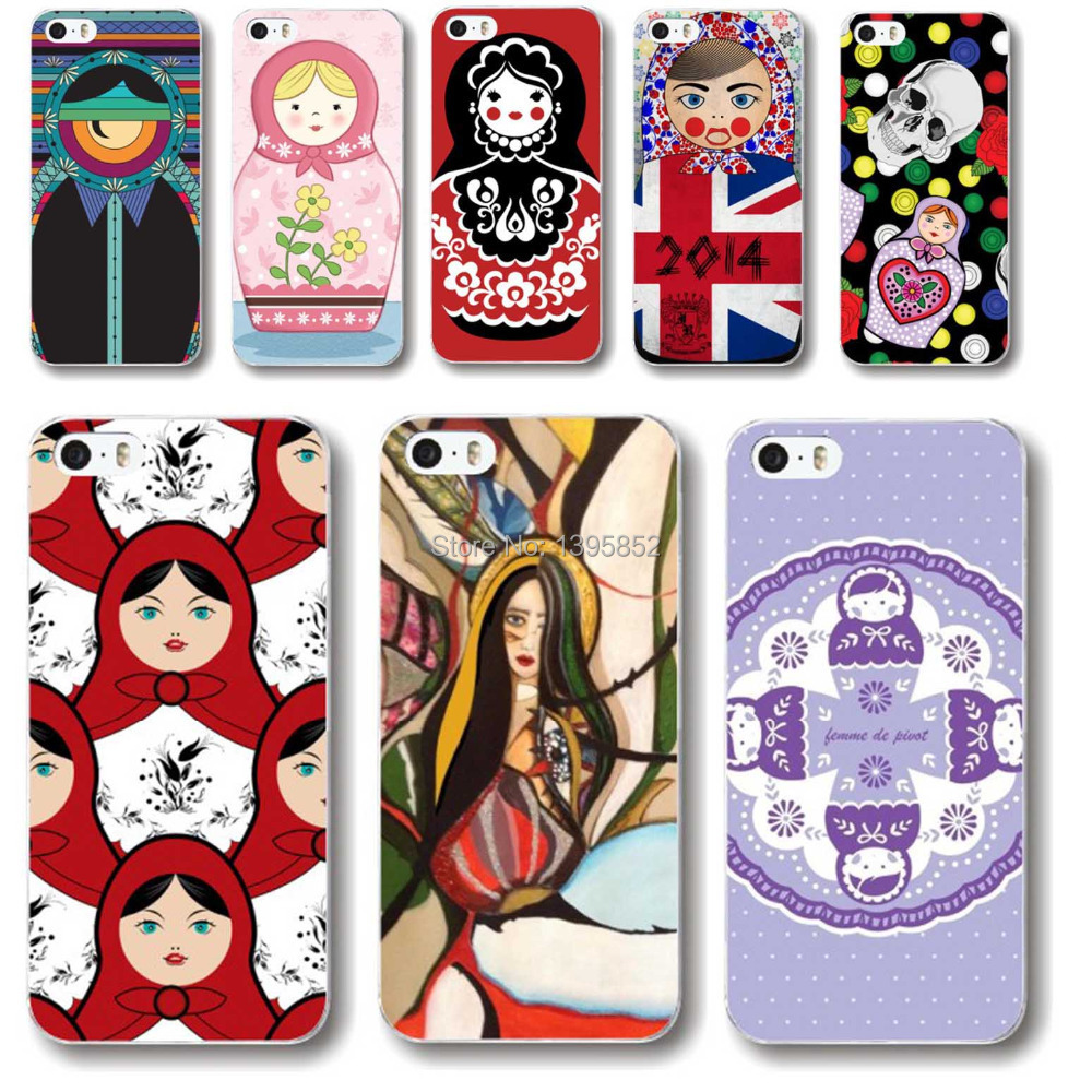 Free shipping Phone Case Cover for iPhone 4 4S Matryoshka Doll Colored Painted Pattern Hard Plastic Back Phone Accessory Skin(China (Mainland))