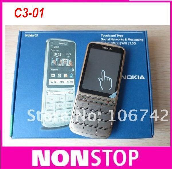 C3-01 Original Nokia c3-01 Unlocked 3G,GSM,WIFI,Bluetooth,JAVA,Russian keyboard&russian language Mobile  Phone Free Shipping