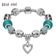 Best LOVE Gift 925 Silver Heart Charm bracelet for Women Murano Glass Beads Jewelry Fit pandora Bracelets Cuff Bracelet  PS3130(China (Mainland))