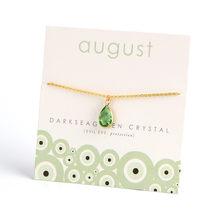 Karta życzeń 12 szczęśliwy kolor wody Rhinestone spadek wisiorek naszyjnik dla kobiet biżuteria prezent urodzinowy biżuteria z kartą CN237(China)