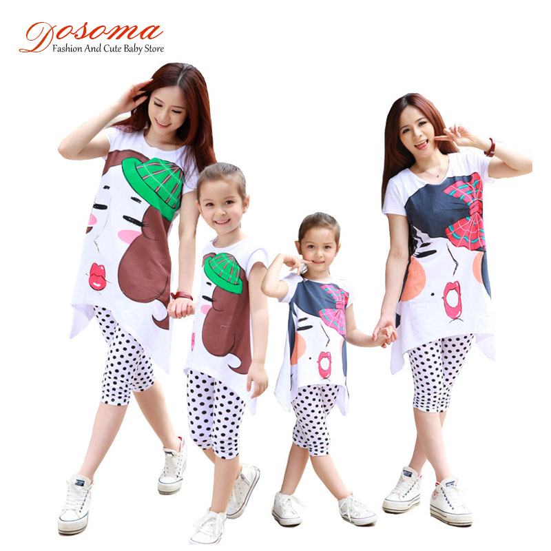 2016 summer matching mother daughter clothes family fitted clothing sets cotton t-shirt+pants family matching outfits set<br><br>Aliexpress