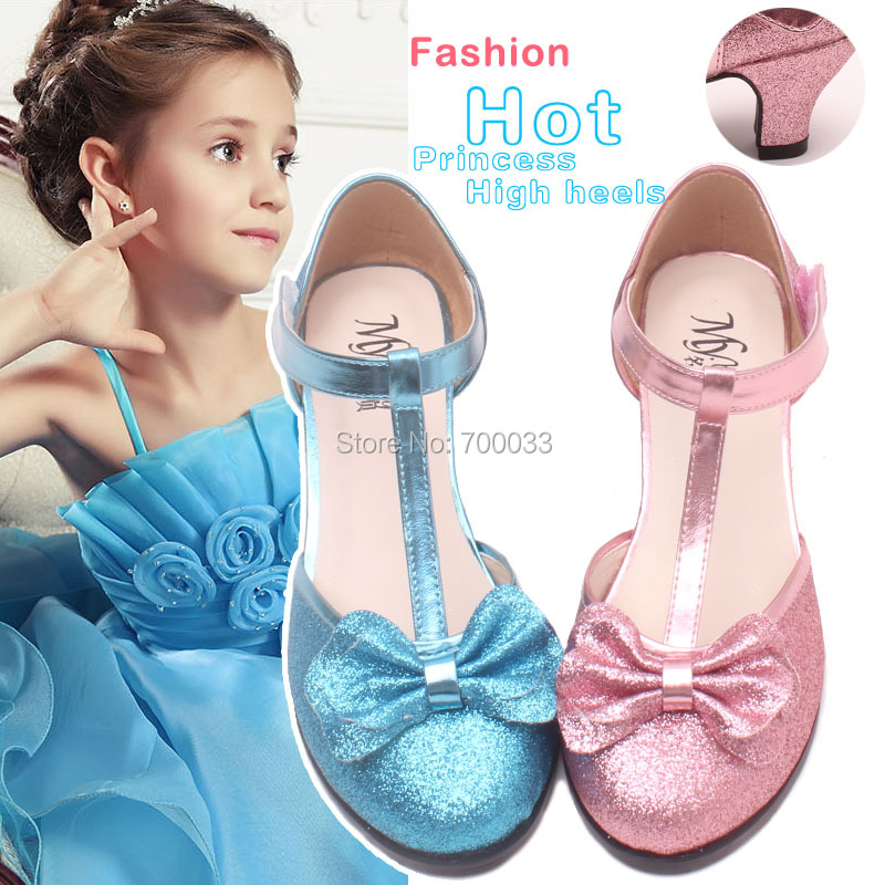 2016 New Glitter Children Shoes Princess Girls Fashion High Heel Wedding 3 Different Color - Boutique store