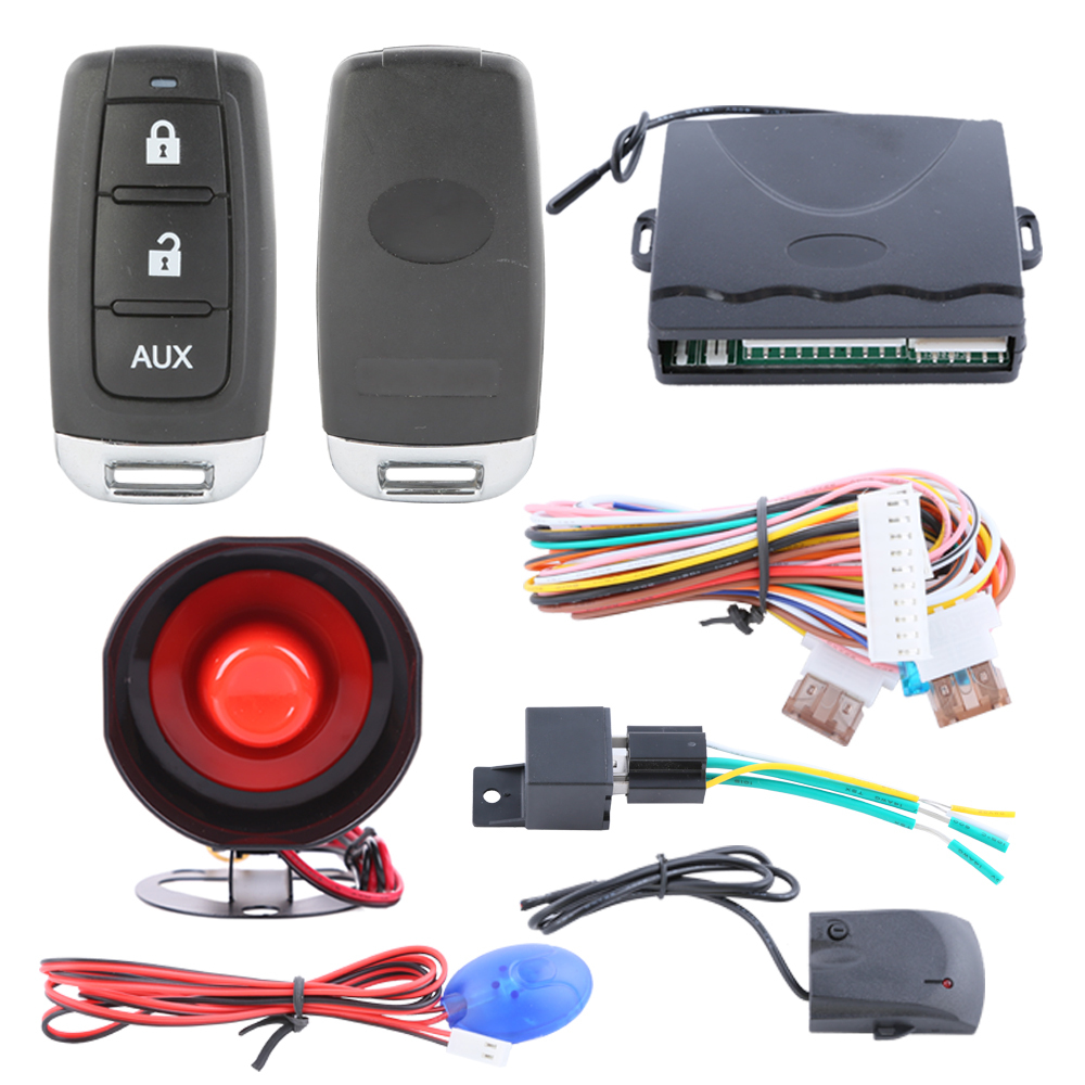 Universal one way car alarm kit 2controls remote trunk release, shock trigger alarm and horn pause(China (Mainland))