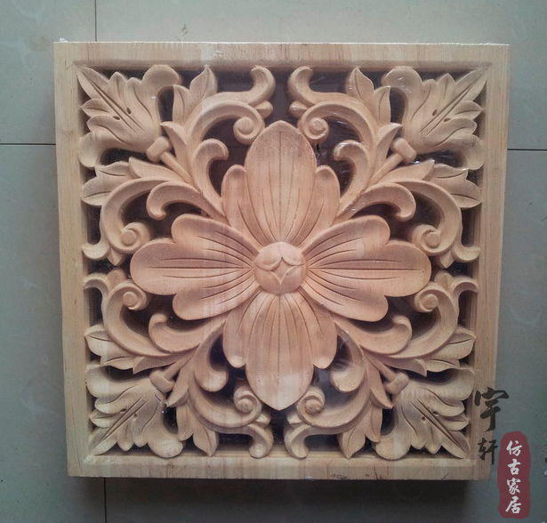 Dongyang wood carving applique corner flower corbel motif fashion square furniture carved - China Wood store