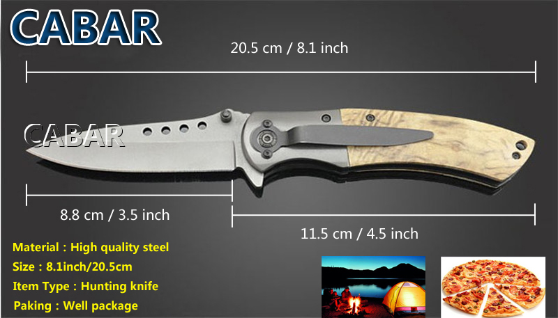 Cabar 2015 New Arrival 81mm Single Blade Hunting Camping Diving Outdoor Knife Top Quality Blade Free