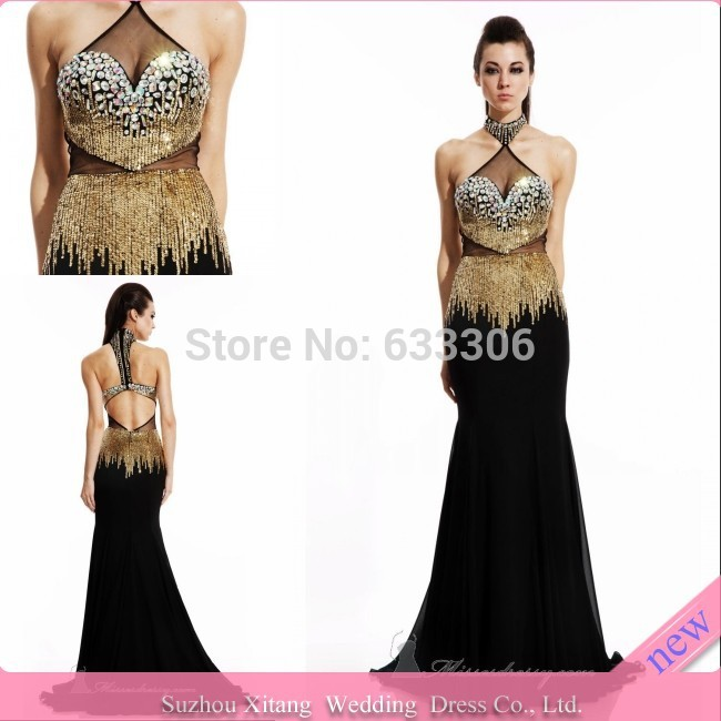 Vestido De Fiesta Black mermaid High neck Gold Sequin Beaded Backless Floor length evening dresses Gown - Cloudup store