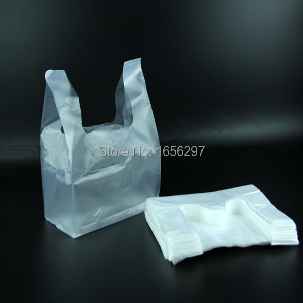 18*28cm 100pcs/lot White Bags Shopping Bag Supermarker Plastic Bags With Handle Wholesale(China (Mainland))