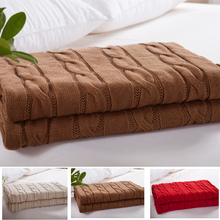 180x200cm Full Size knitted blanket,Khaki ColorThread Blankets,100% Cotton Large Hemp flowersDesign Knitted Sofa Blankets(China (Mainland))