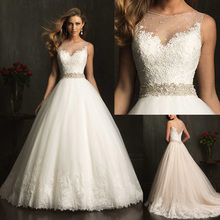2015 New Fashion Custom Made Elegant Vestidos Bridal ball gown  A-line Appliqued Soft Tulle  Wedding Dresses With Crystal 2014(China (Mainland))