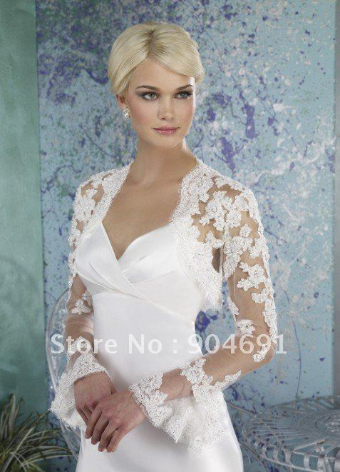 Beaded long trumpet sleeves ivory white lace tulle wedding for Wedding dress long sleeve lace jacket