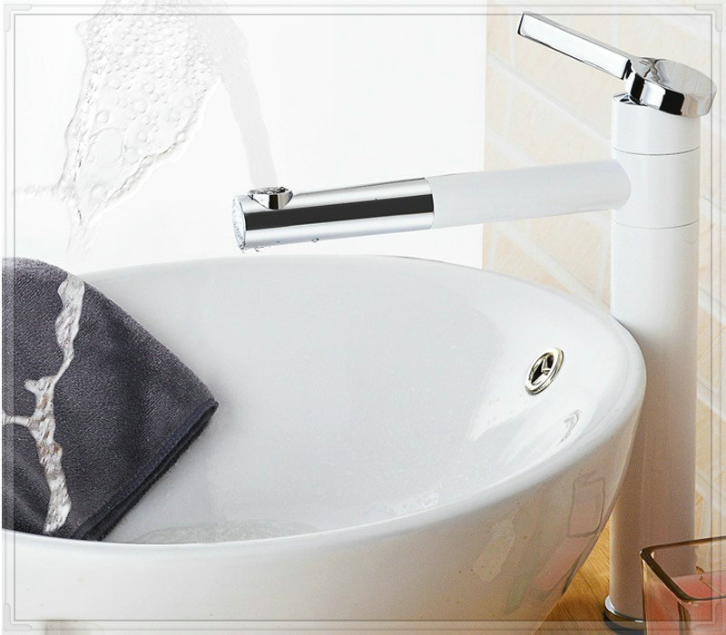 Free shipping high quality luxury color brass bathroom color tap white color faucet high quality BF002(China (Mainland))