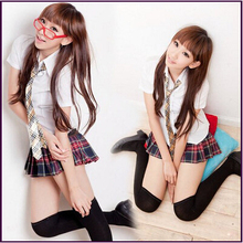 2016 Free Shipping High Quality Sexys Cute Style School Girl Uniform chool wear costume Blouse + Kilt costumes