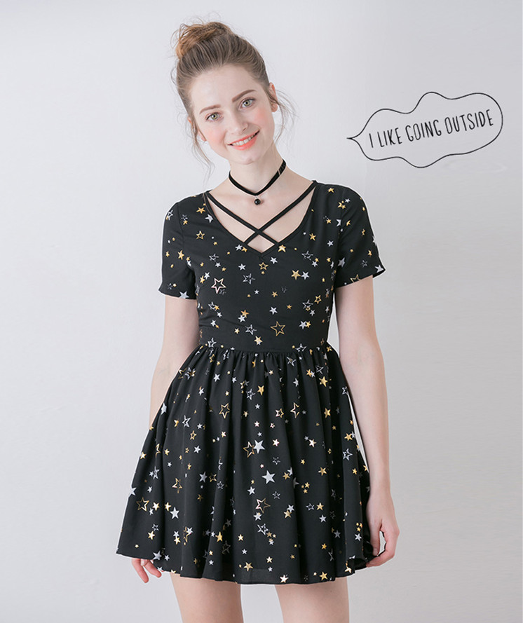 High quality summer women Fashion high waist slim waist v-neck dress Sweet Black little Stars print one piece dress Soft sister(China (Mainland))