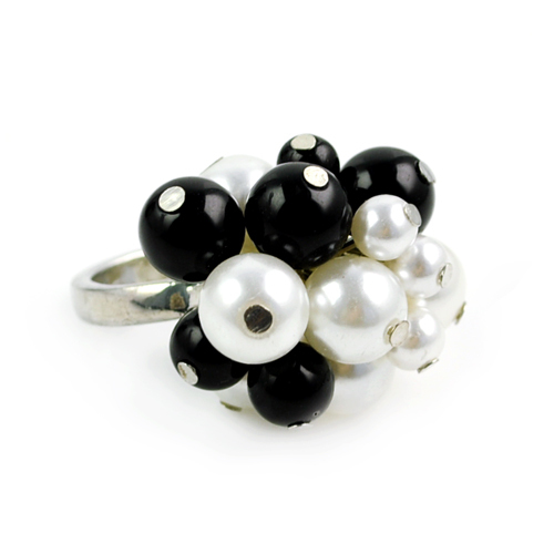Size 19mm black and white simulated pearl rings ,women Latest pearl ring design antique ring RN-606(China (Mainland))