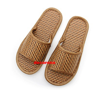 2017 Hemp Bamboo Rattan Woven Spring Men Sandals Male Summer Sandals Flat Sandals Indoor Soccer Shoes Brown Casual Men Shoes(China (Mainland))
