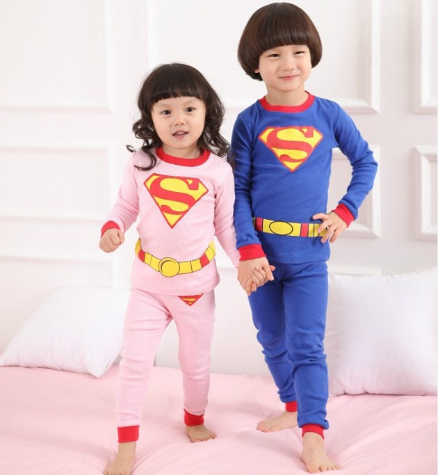 Free shipping! Spring autumn children's clothing wholesale children baby boys and girls superman suit kids set(China (Mainland))