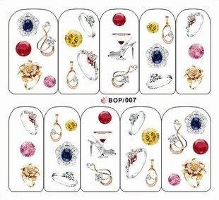Finger applique nail art sticker watermark water transfer printing applique decal bop series