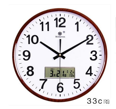 2016 Modern living room wall clock creative mute electronic calendar quartz watch round family hanging clock free shipping 703(China (Mainland))