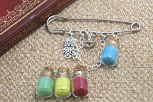 12pcs HP inspired Wizard house themed charm with chain kilt pin brooch (50mm)