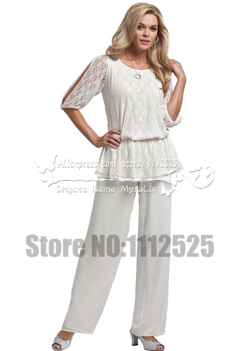 Amp1009 summer white two piece mother of the bride pants for Dresses for mother of groom for summer wedding