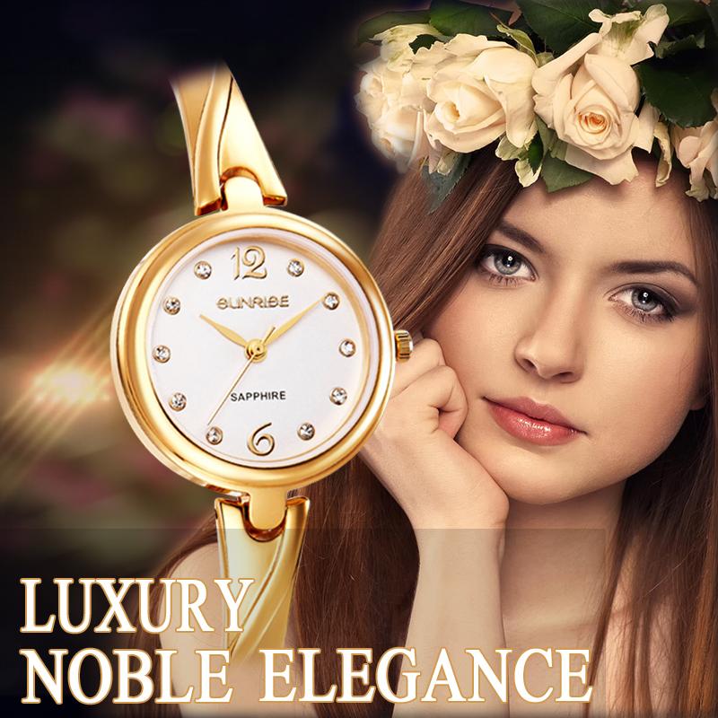 Women watch Sunrise brand luxury Fashion Casual quartz bracelet watch Lady relogio feminino women steel wristwatche Dress clock(China (Mainland))