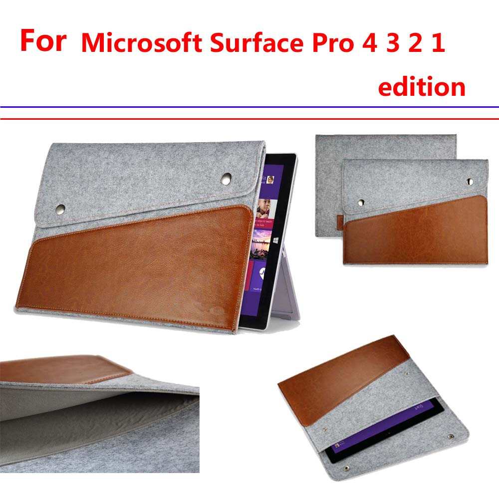 Surface Pro 1 2 3 4 Genuine leather felt bag case for Microsoft surface pro 2 3 4 universal tablet pc fashion handle case(China (Mainland))