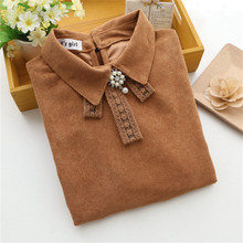 new 2016 spring women elegant tops lace bow beaded cute blouse ladies work wear shirts OL vintage blouses blusas Feminino Bluse