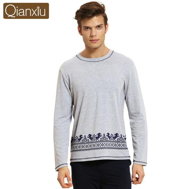 Пижамы-наборы qianxiu пижамы для мужчин трикотажные хлопок модальные домашняя одежда ...