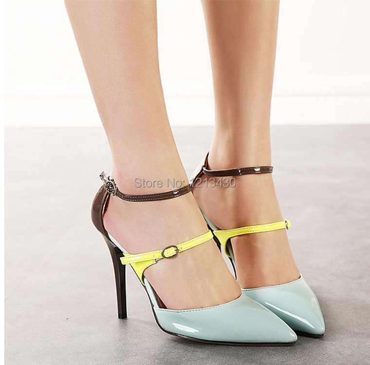 HOT STYLE 2015 fashion top star style women mixed colors pointed toe sexy thin 10.5CM high heels OL party pump close shoes(China (Mainland))