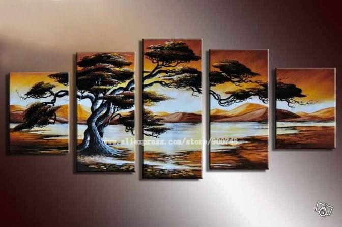 Lake Home Wall Decor : Art hand painted free ping snow mountain lake the tree