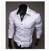Imported Clothing Fashion Menswear Autumn Men Red Black White Long Sleeve Social Casual Dress Shirt Men Slim Fit Male Shirt