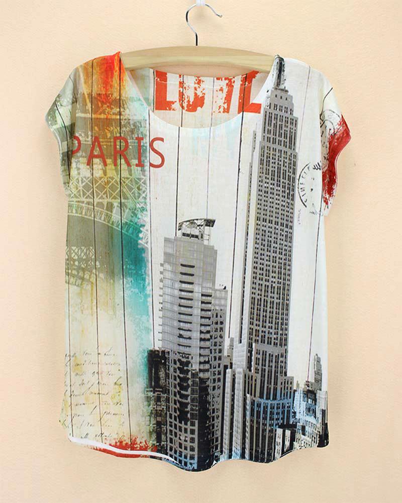 paris eiffel tower tall building manhaton roupas 2015 new t women summer short sleeve cheap pretty sweatshirt(China (Mainland))