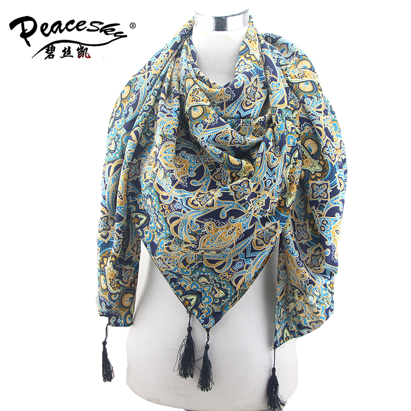 Tassel Floral Scarf Muslim hijab, Mercerizes Cotton Voile Scarf ,Shawls and scarves Ladies Scarves 2015(China (Mainland))