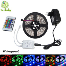 Free shipping  waterproof led strip 3528 SMD 5M 600leds DC12V RGB color with 24Key IR remote controller and 24W power supply