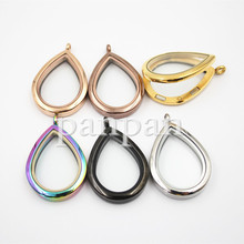 can mix! Panpan  large teardrop shape(38mm*28mm)  magnetic  316L stainless steel Floating locket plain face(China (Mainland))