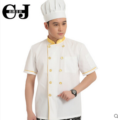 20pcs Quality work wear short-sleeve chefs uniform work wear summer white cook clothing chefs coat food division overalls(China (Mainland))