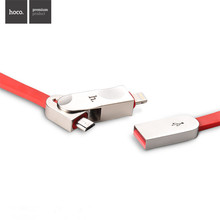 2016 HOCO 2 in 1 usb cable cheese noodles micro usb cable metal plug mobile phone cable for iPhone 5s 6 6s Plus Samsung xiaomi